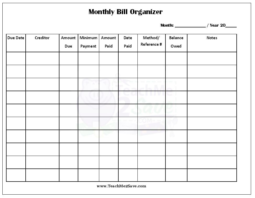 7 Images of Blank Printable Monthly Bill Organizer