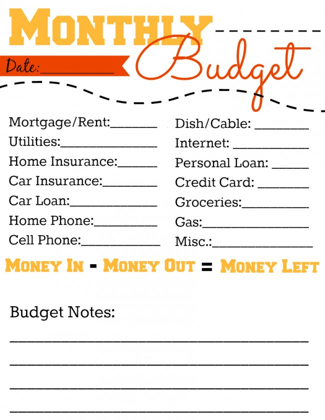Free Printable Monthly Budget Worksheet