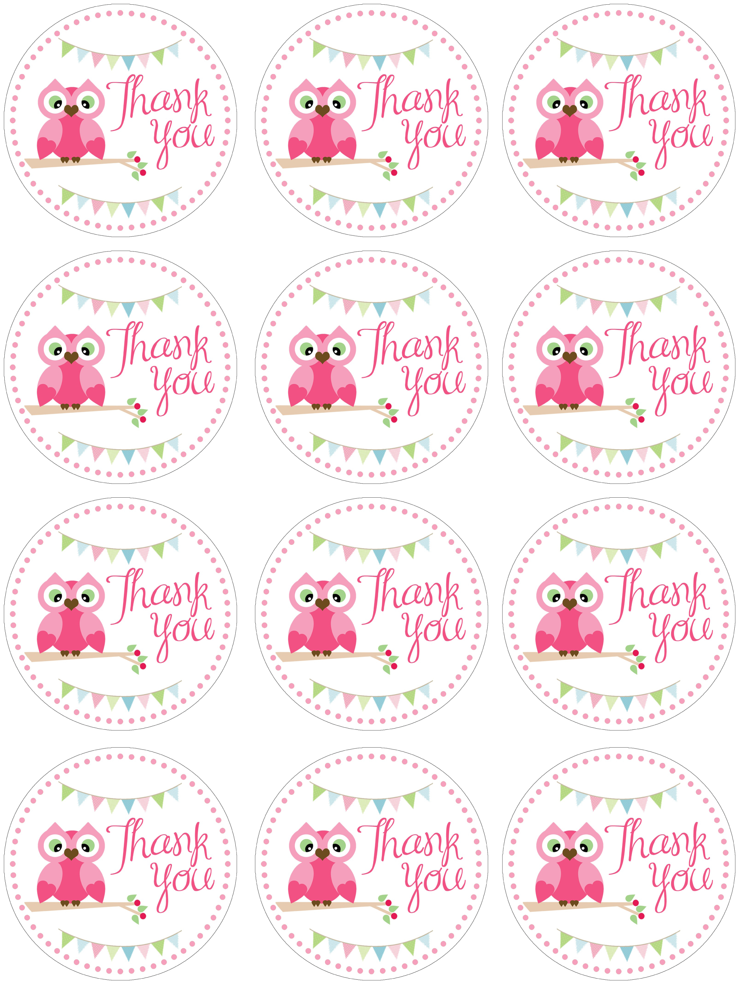 Free Printable Owl Thank You Tags