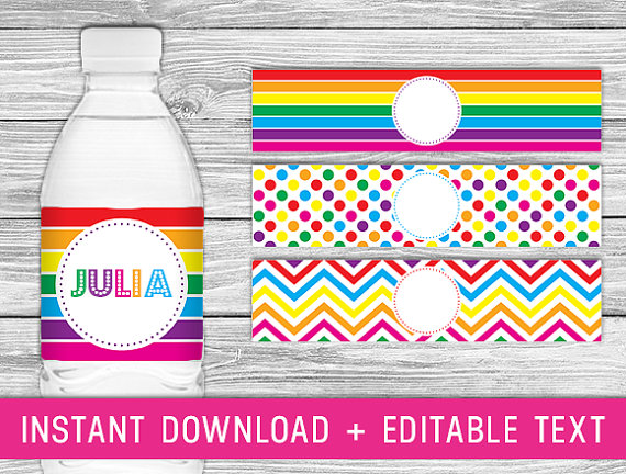... Labels, Rainbow Party Printables Free & Rainbow Party Printable Labels