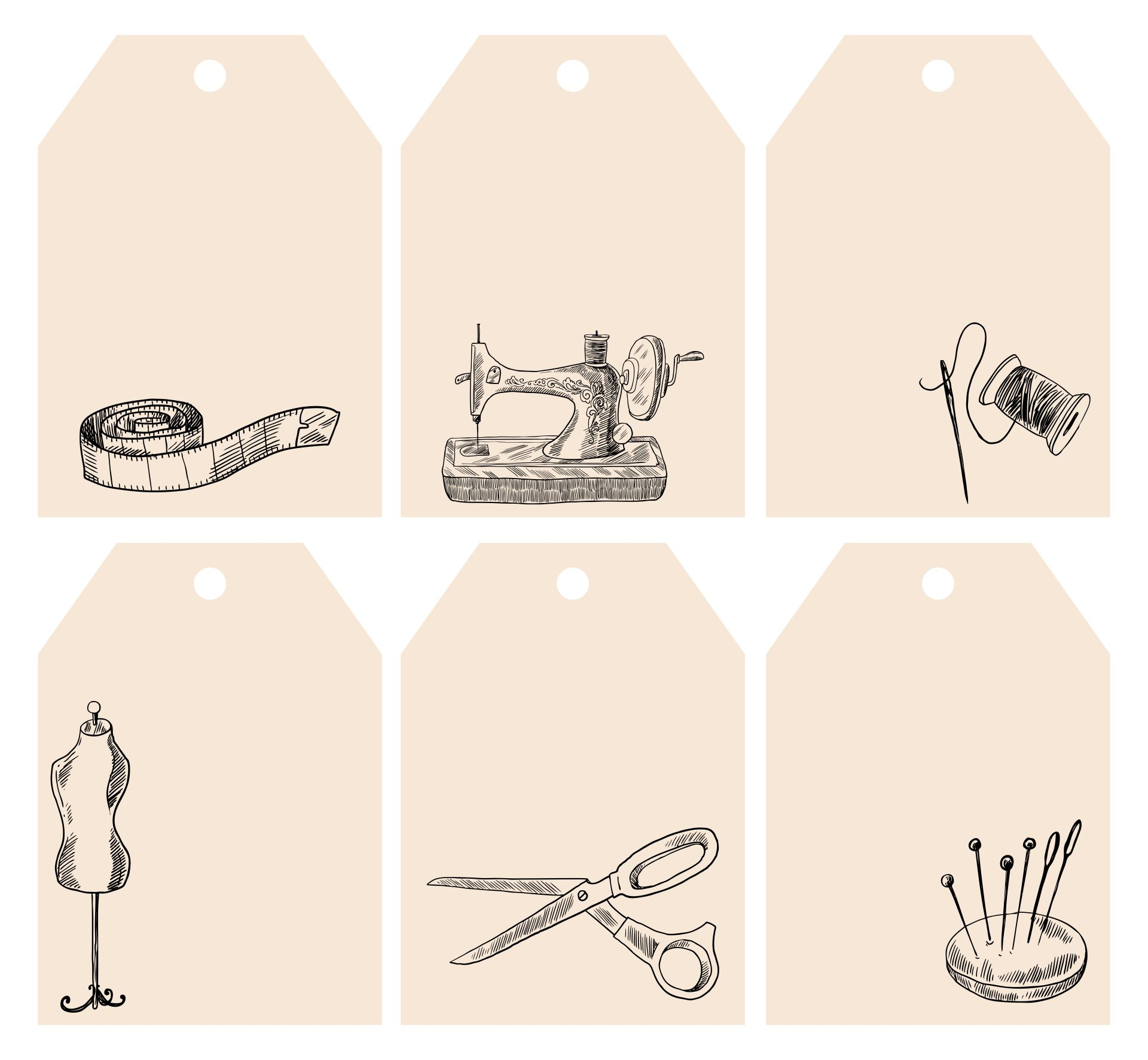 Printable Vintage Sewing Labels