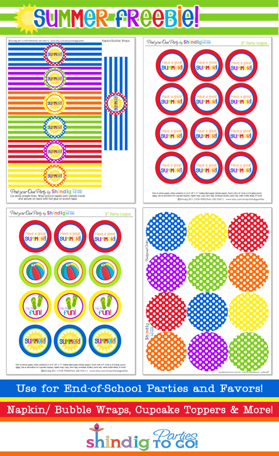 4 Images of Summer Party Free Printables