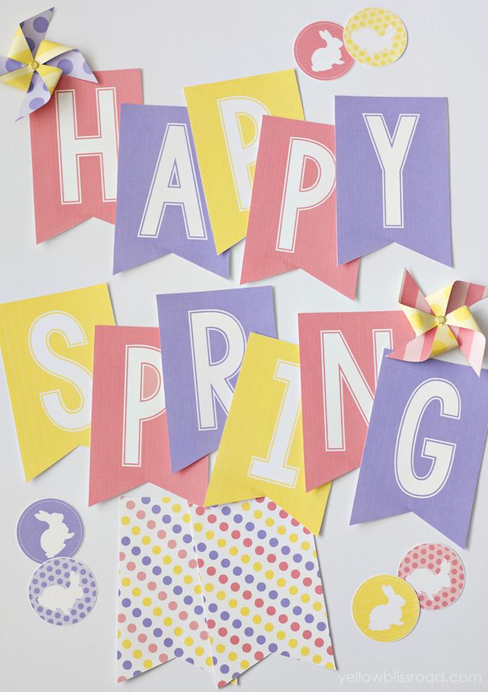 Happy Spring Banner Printable Free