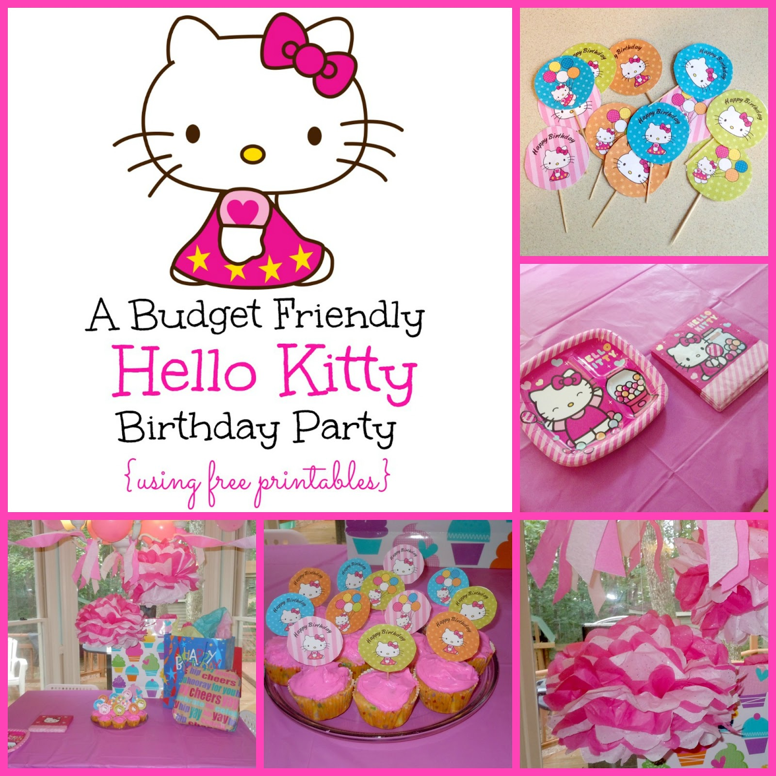 6 Images of Hello Kitty Birthday Party Printables