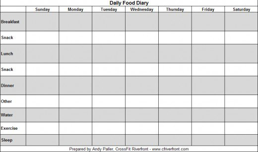 5 best images of ibs food diary template free printable for Food diaries templates