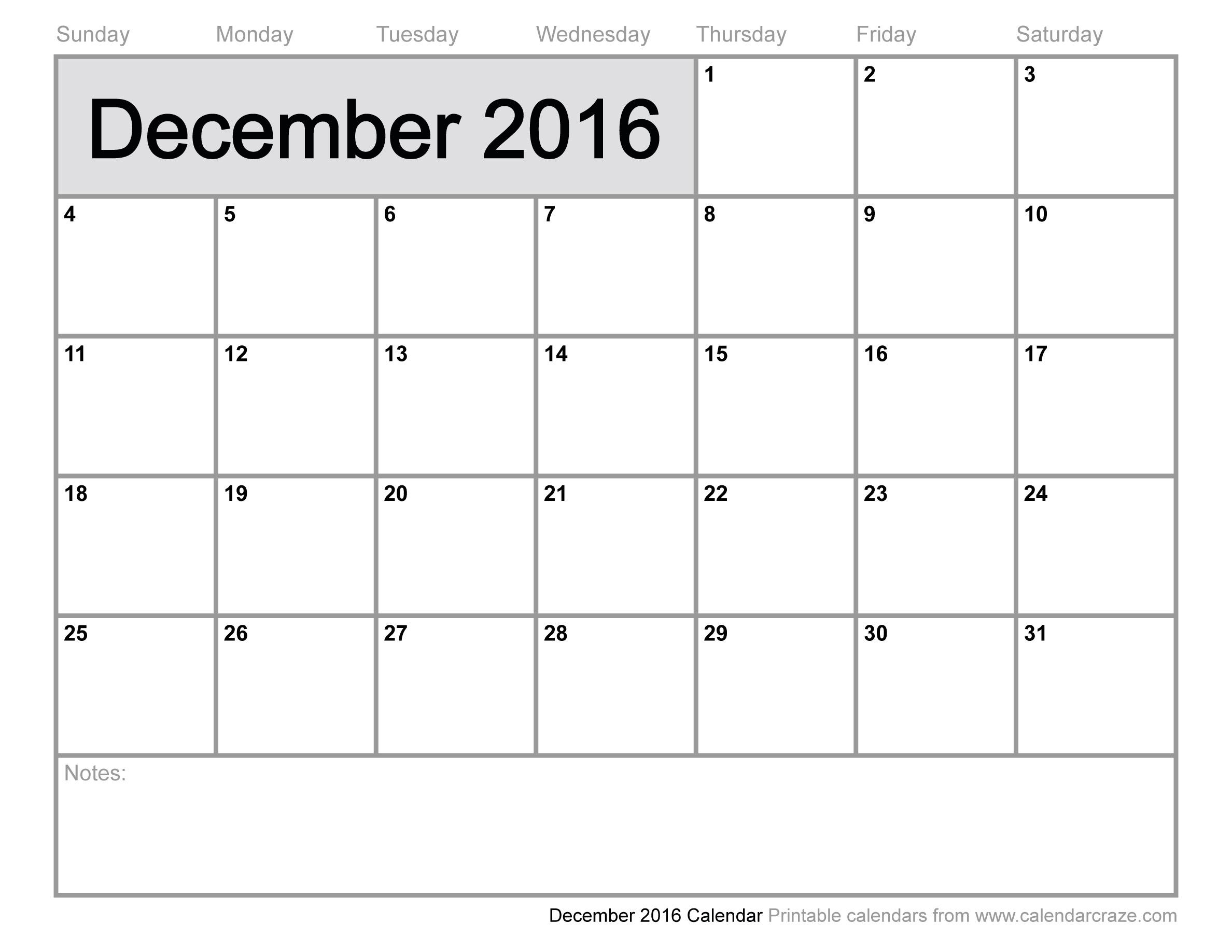 6 Images of December 2016 Calendar Printable