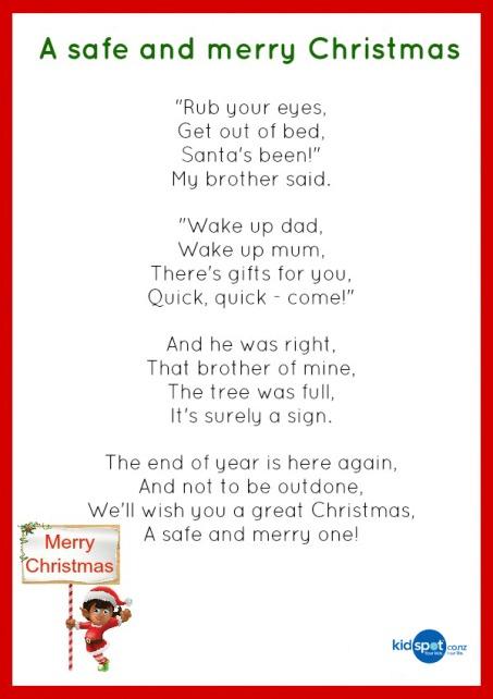 Kids Christmas Poem Printable