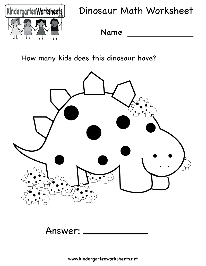 math worksheet : 7 best images of dinosaur kindergarten worksheets printable  : Free Printable Worksheets Math