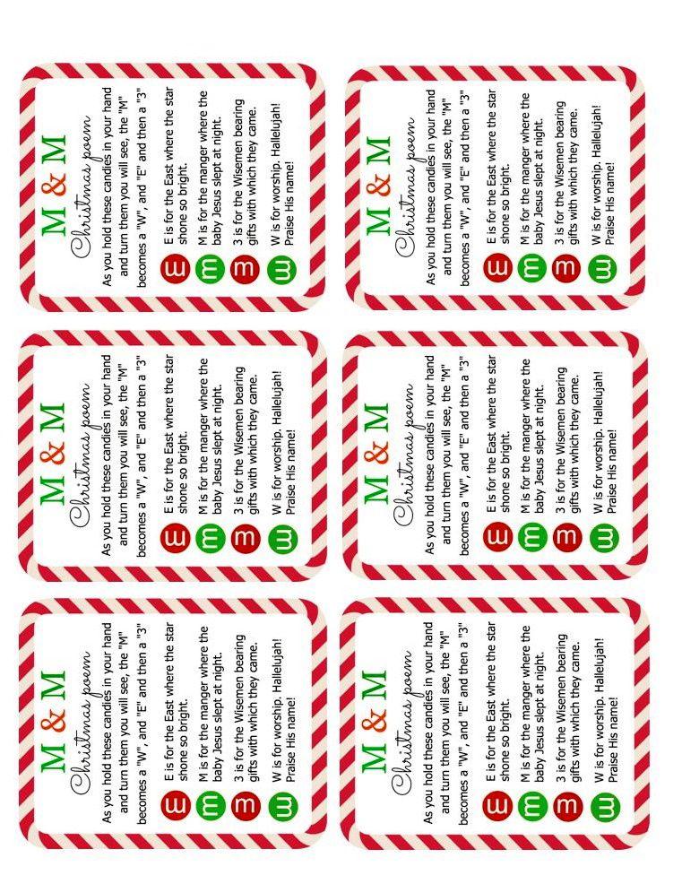 M M Christmas Poem Printable