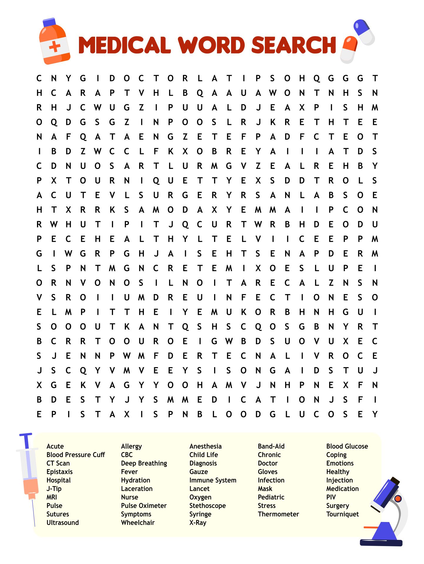 6 Images of Medical Word Search Puzzles Printable
