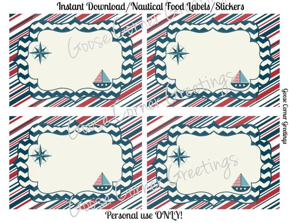 Nautical Food Labels Printable