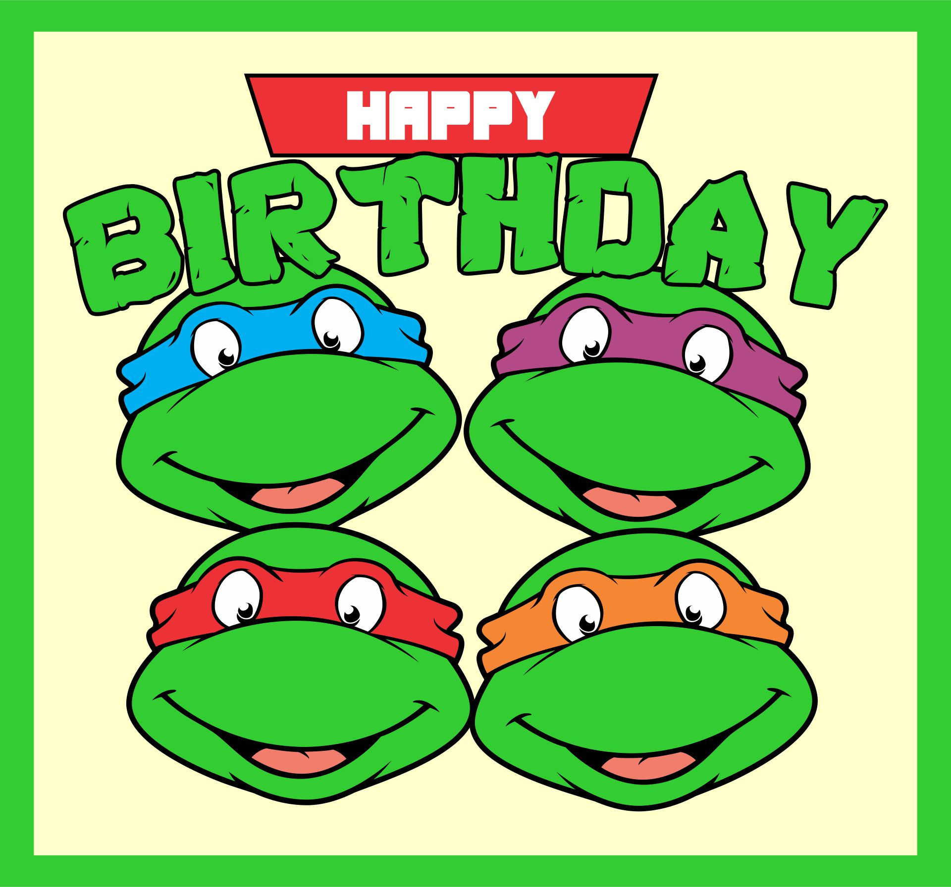 Ninja Turtles Printable Birthday Cards