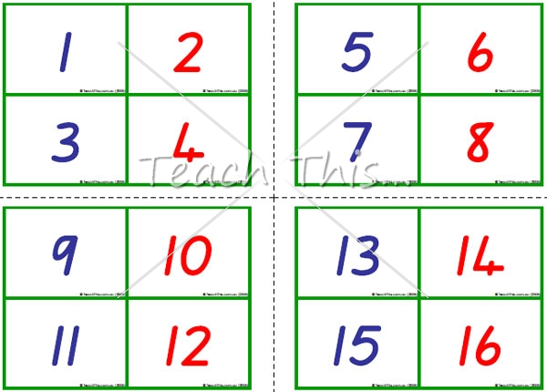 7 Images of Printable Number Flash Cards 1-100