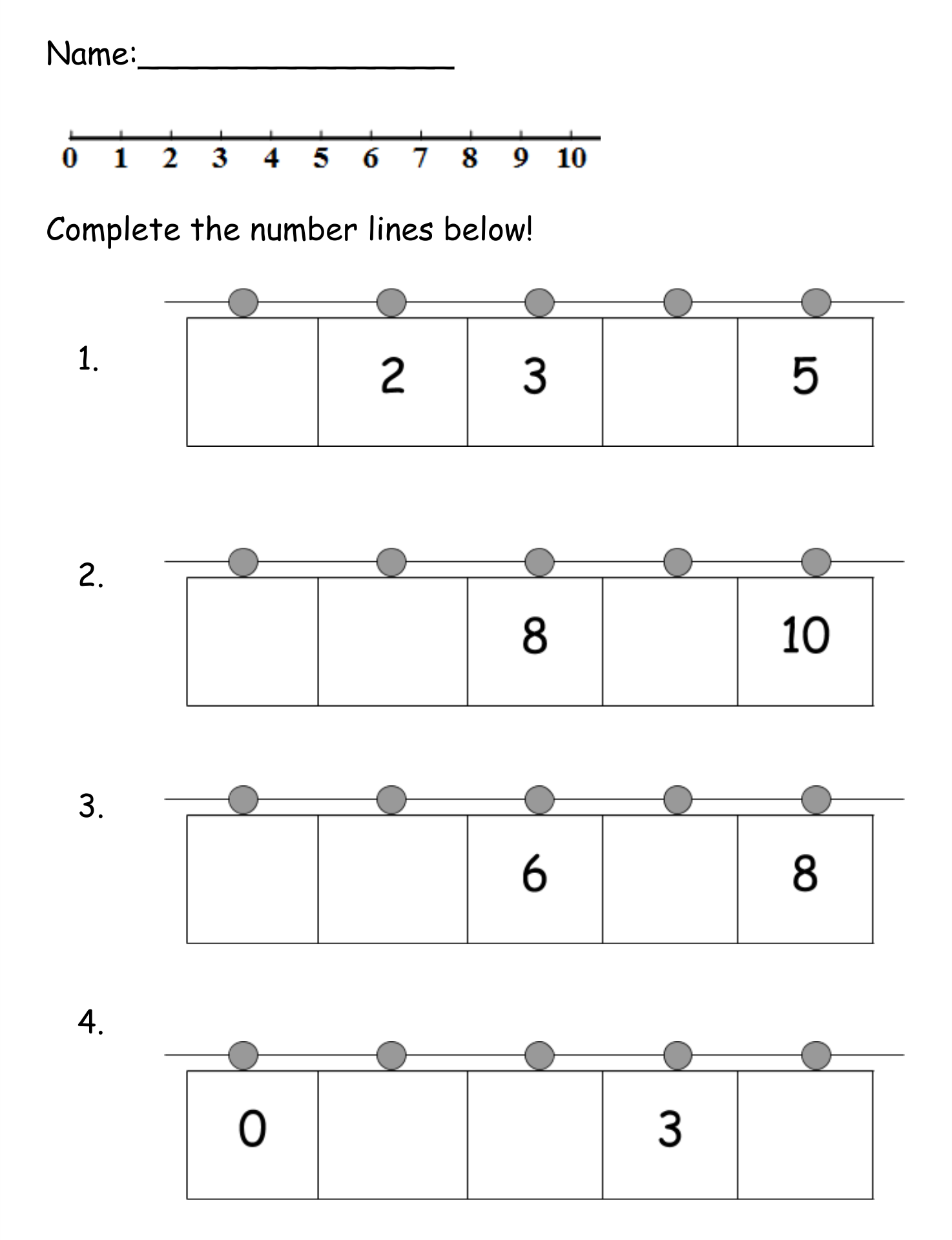 Blank Number Line Worksheets First Grade - Grade Worksheets