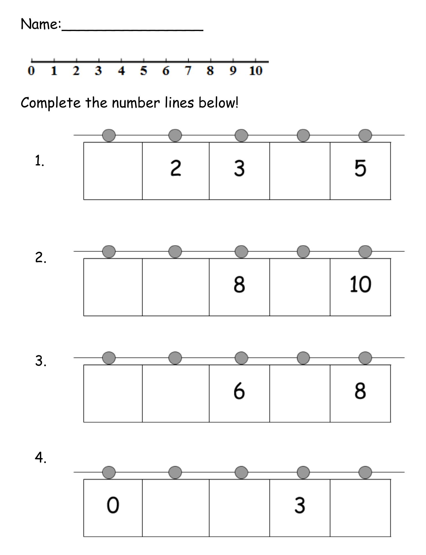 Number Line 1 10 Worksheet