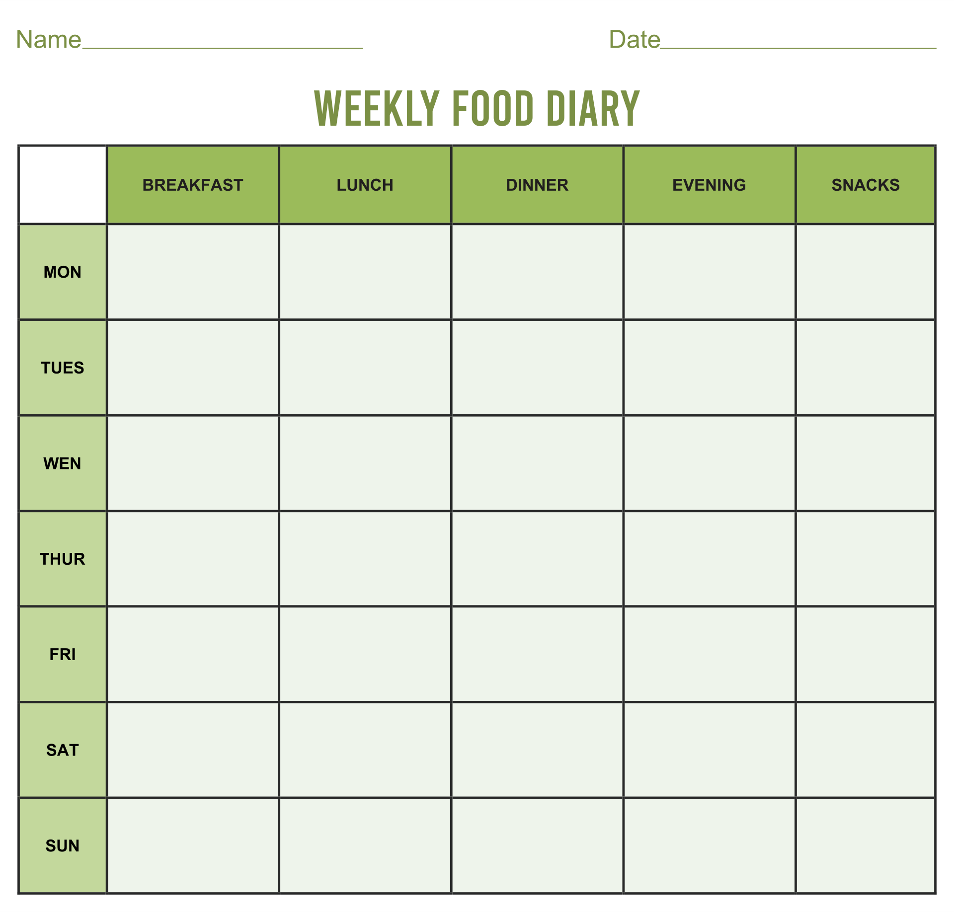 Images of Printable 7-Day Food Journal - Printable Weekly Food Journal ...