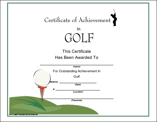7 best images of free printable menu templates for golf for Free hole in one certificate template