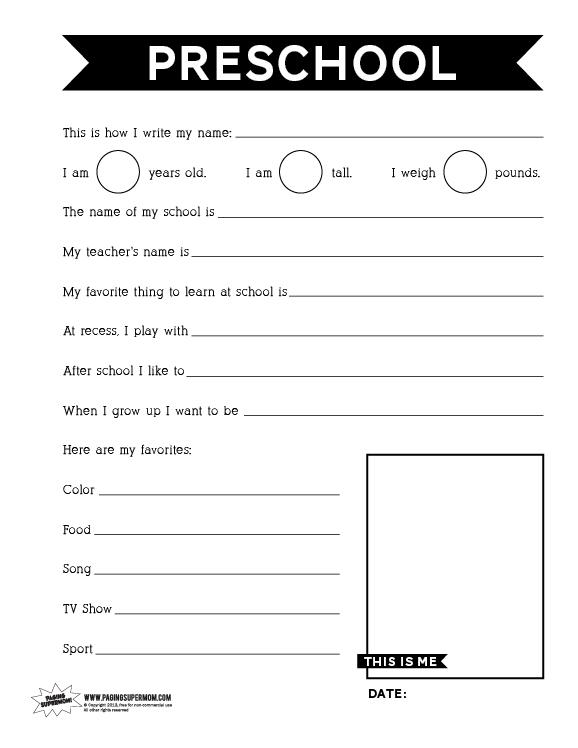 Number Names Worksheets free printable worksheet for preschool : Free Printable Back To School Worksheets For Kindergarten ...
