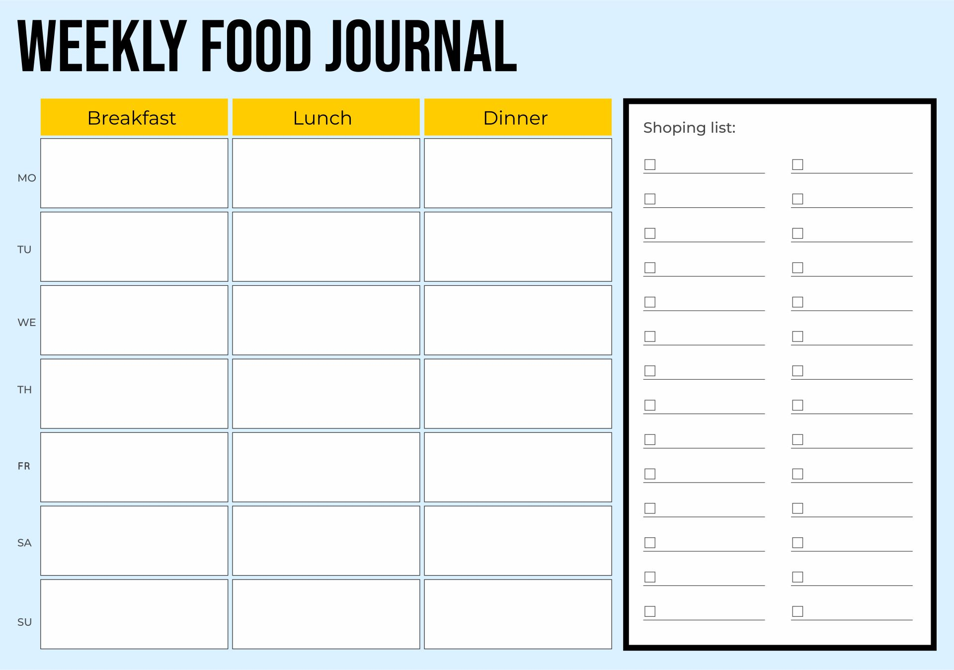 7 best images of printable 7 day food journal printable for Food diaries templates