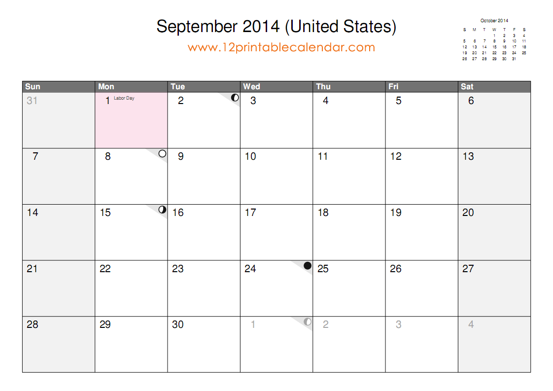 9 best images of september 2014 calendar printable for Fillable calendar template 2014