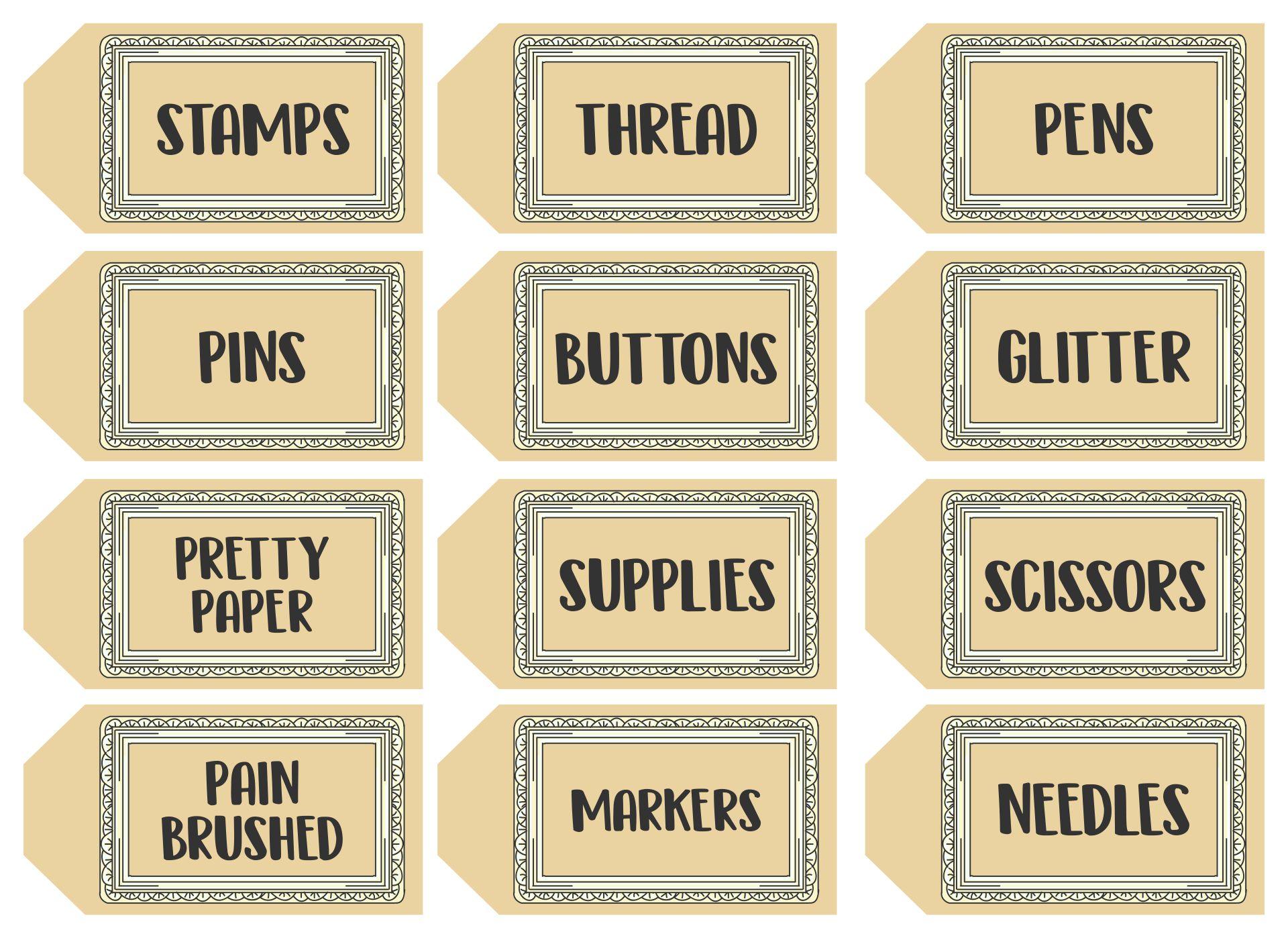 Sewing Room Printable Labels