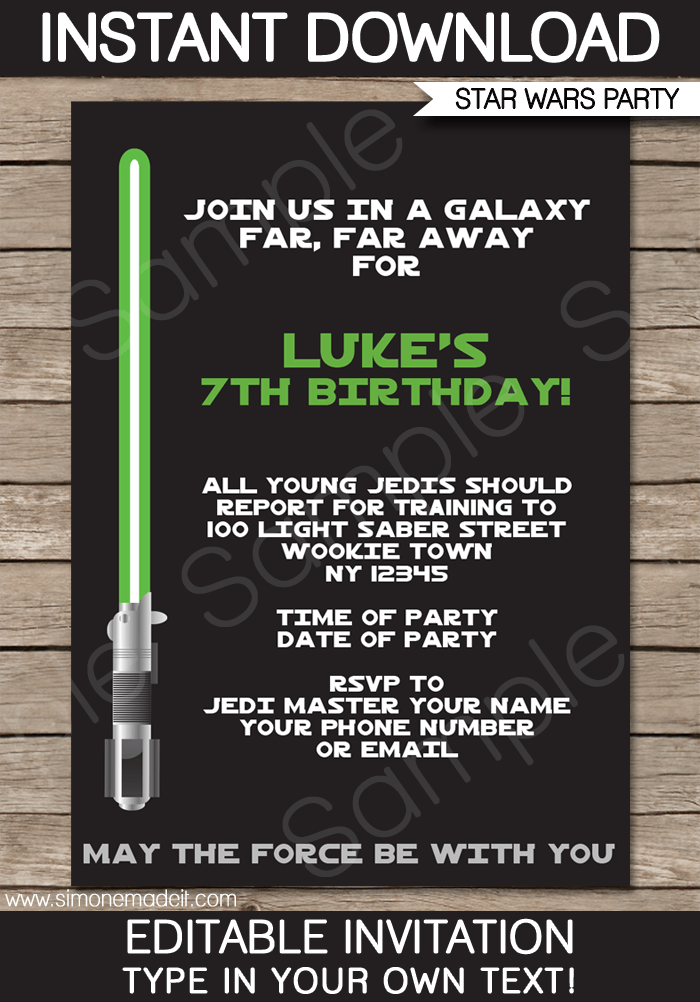 Star Wars Invitation Template Free