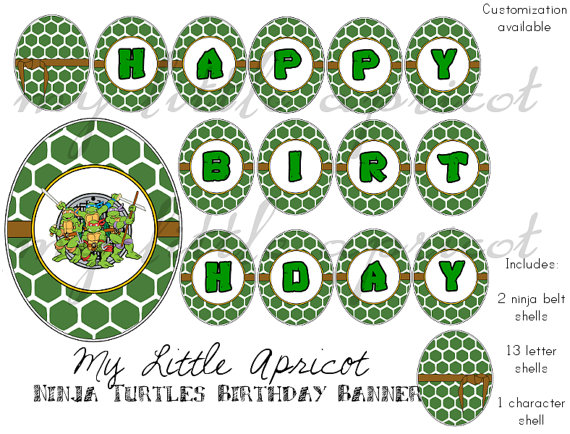 6 Images of Ninja Turtle Happy Birthday Banner Printable