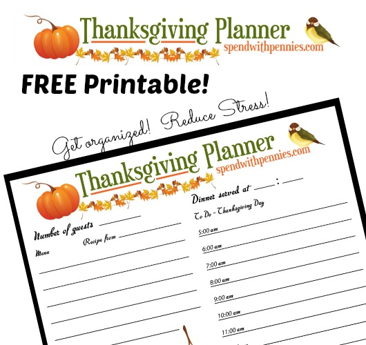 5 Images of Thanksgiving Dinner Planner Printable