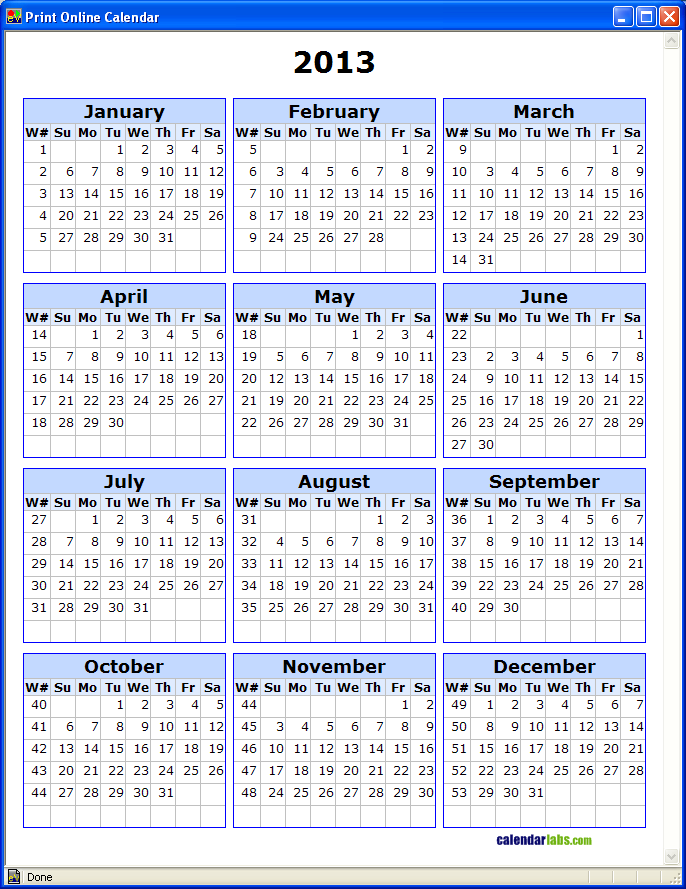 5 Images of 2013 Printable Calendar By Week Number