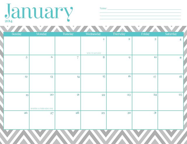 2015 Calendar Printable Free Chevron