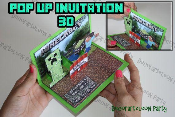3D Minecraft Printable Invitation