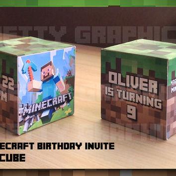 3D Printable Minecraft Birthday Party Invitation