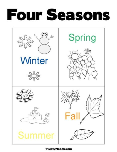 4 Seasons Coloring Pages Printable