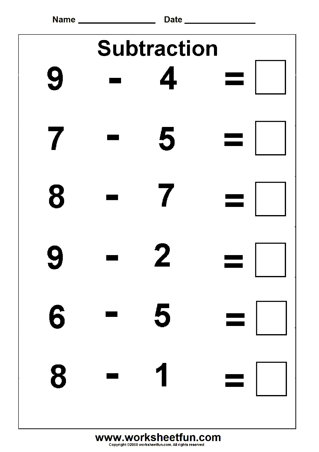 Of Free Printable Kindergarten Subtraction Worksheets – Kindergarten