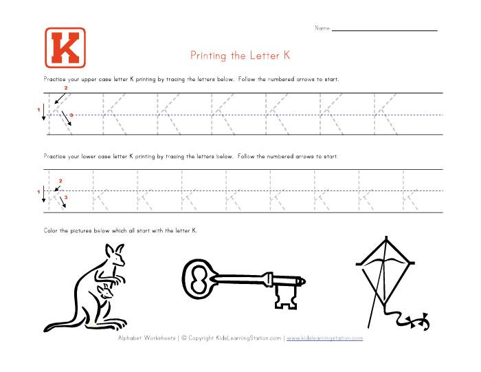 Tracing Worksheets For The Letter K - letter k worksheets for ...