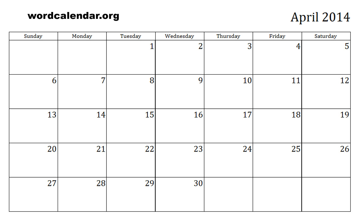 Monthly Calendar April 2014 8 best images of april monthly calendar ...