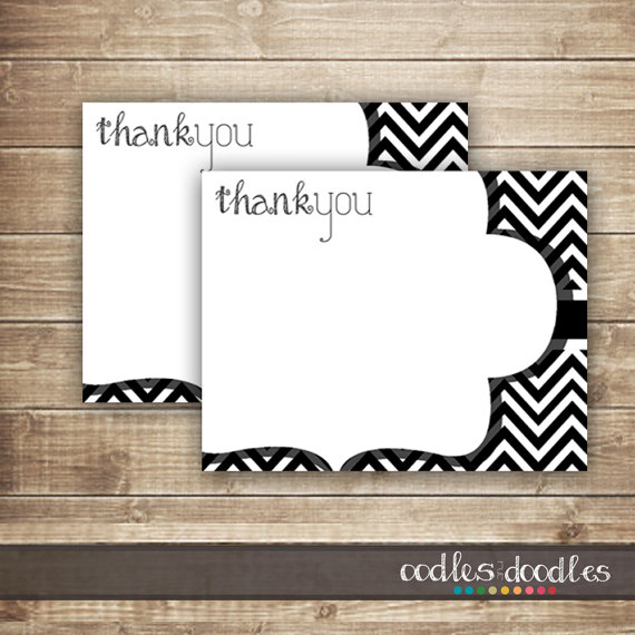 5 Images of Black Chevron Printable Thank You Cards
