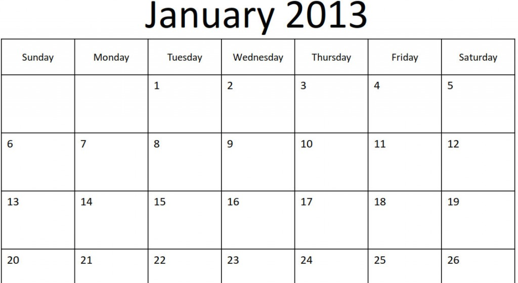 January 2013 Monthly Calendar 9 best images of 2013 printable calendar ...