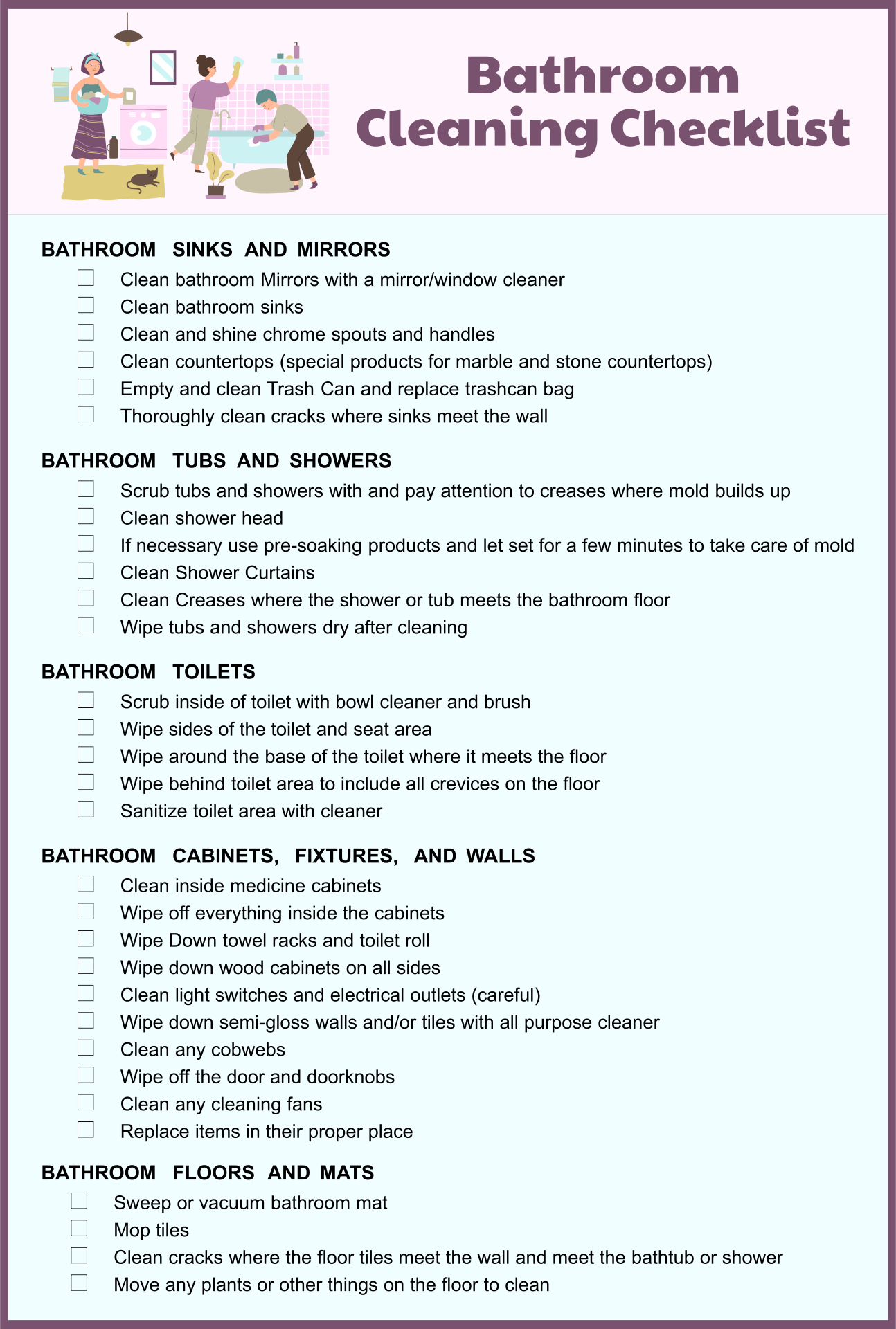 8 best images of restroom cleaning schedule printable daily bathroom cleaning checklist free