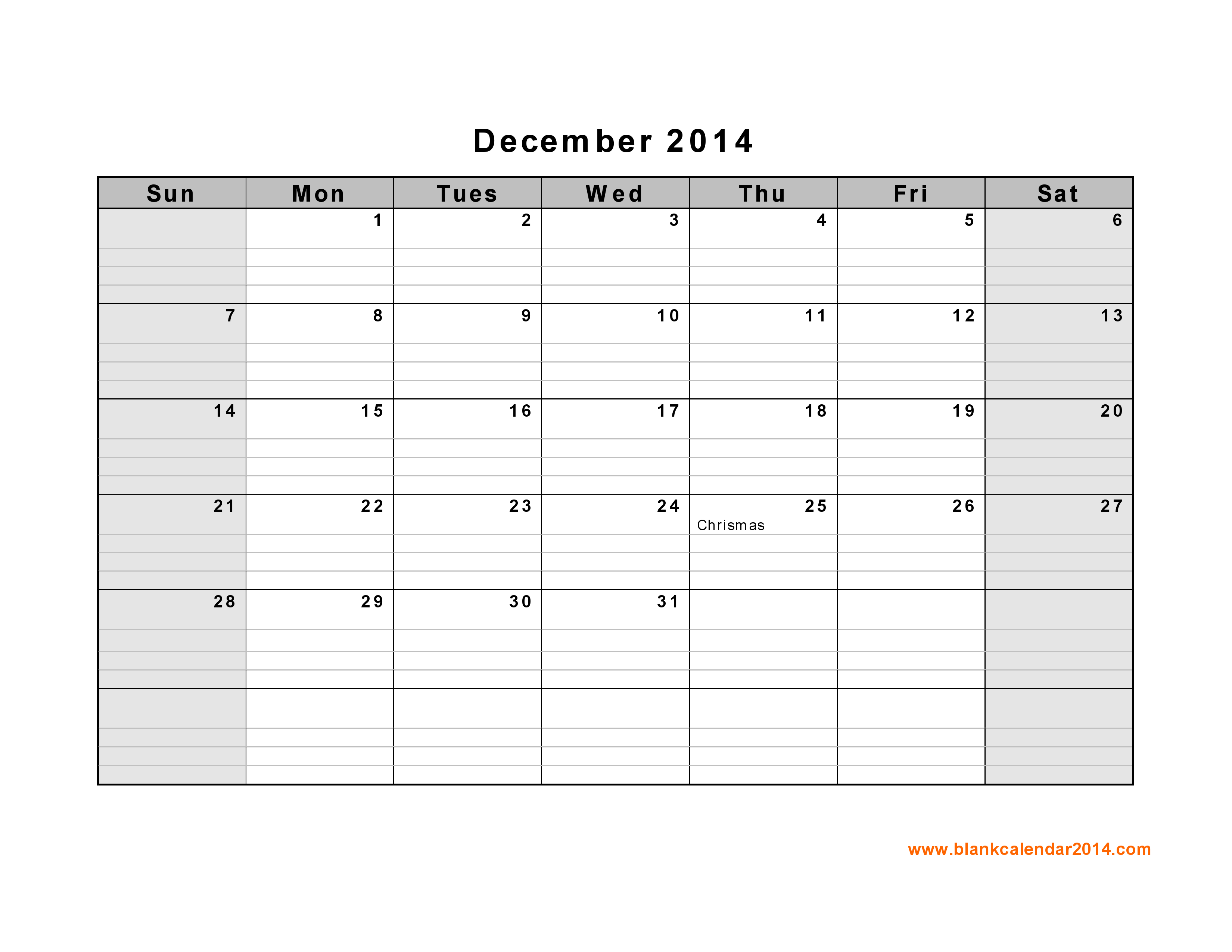 5 Images of Dec 2014 Calendar Printable Template