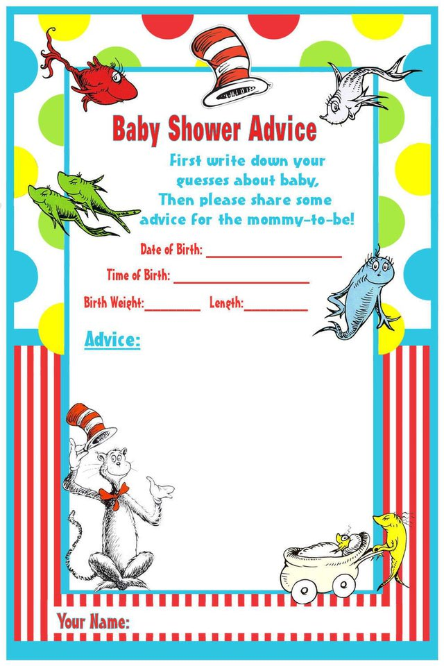 Dr Printable Seuss Baby Shower Cards