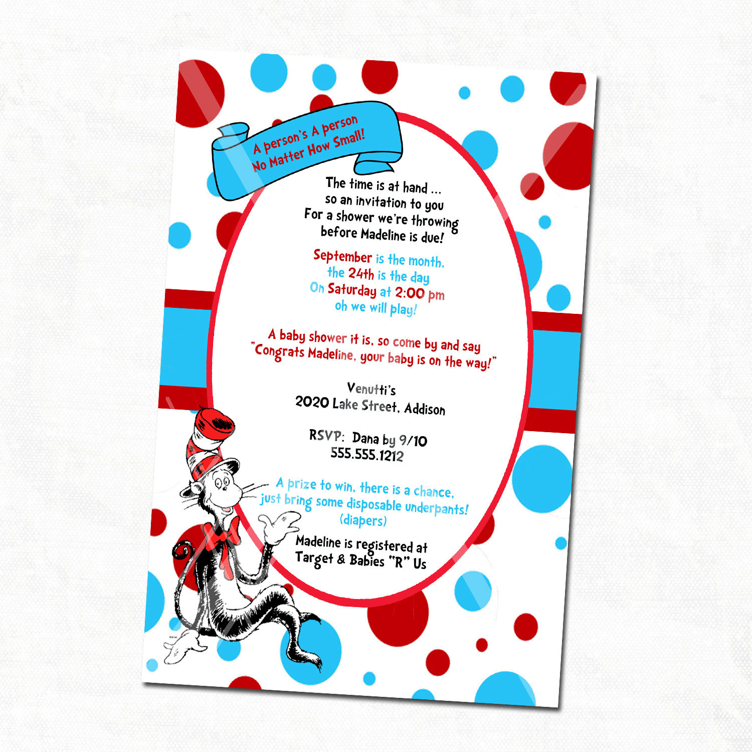 Dr Printable Seuss Baby Shower Invitations Templates