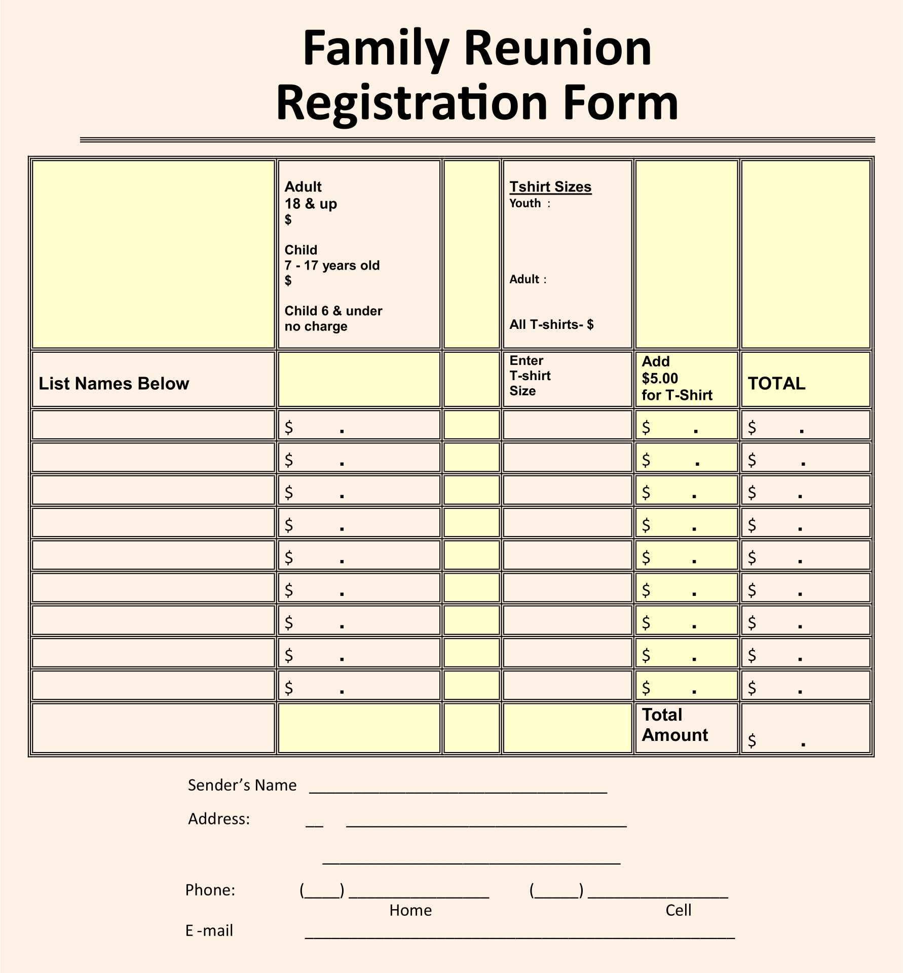 7 best images of family reunion forms printable free for Dance school registration form template free