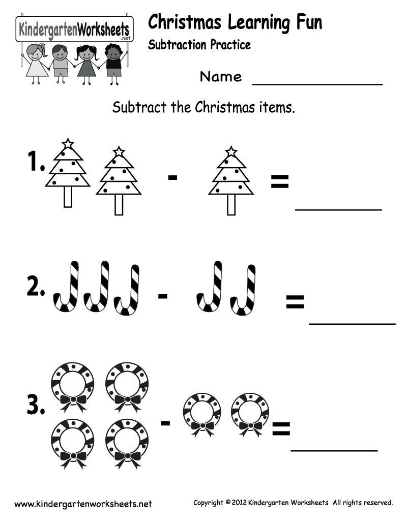 Worksheets Christmas Subtraction Problems 7 best images of free printable kindergarten subtraction worksheets