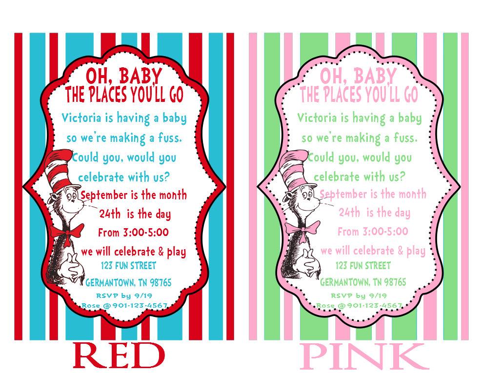 Printable Dr. Seuss Baby Shower Invitations