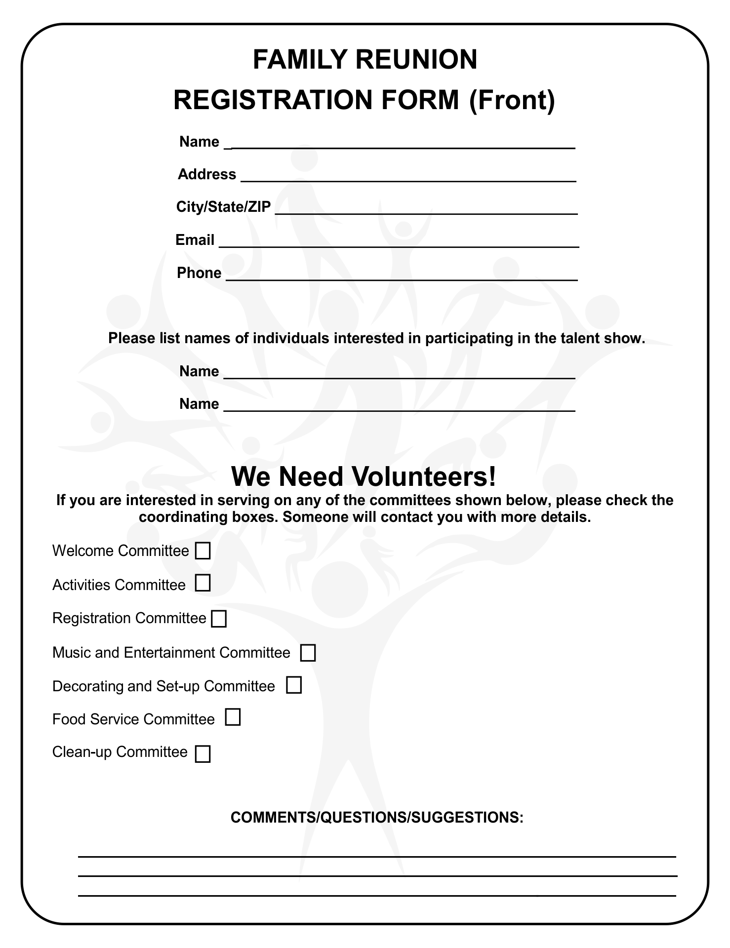 Printable Family Reunion Forms