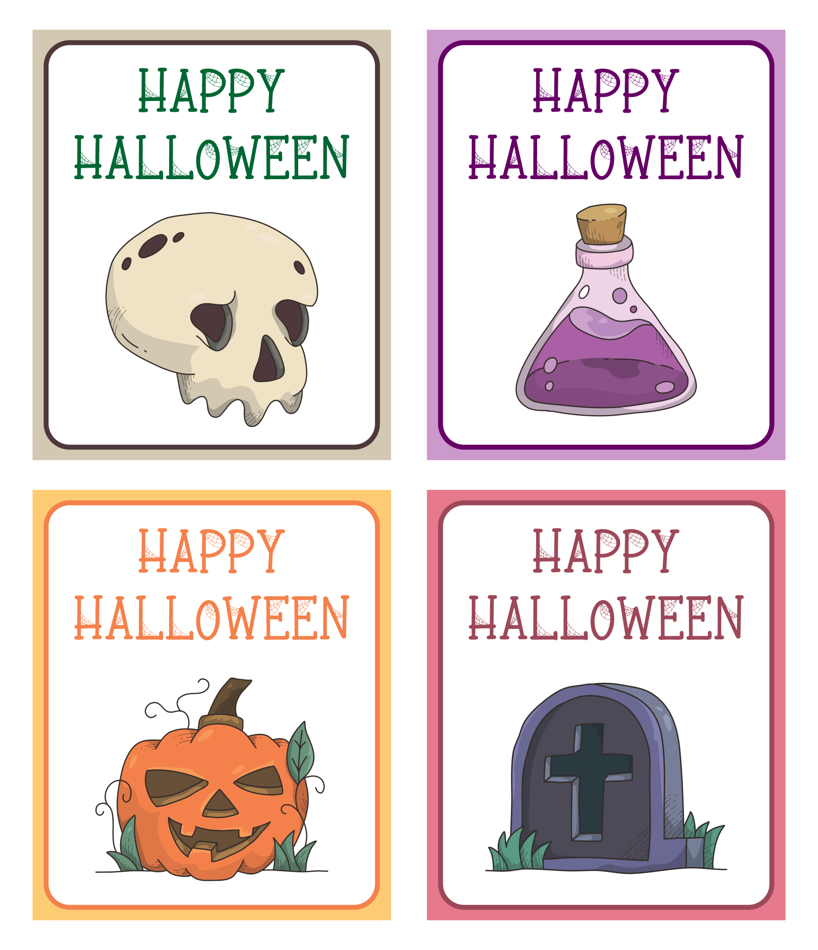 8 Images of Happy Halloween Printable Cards