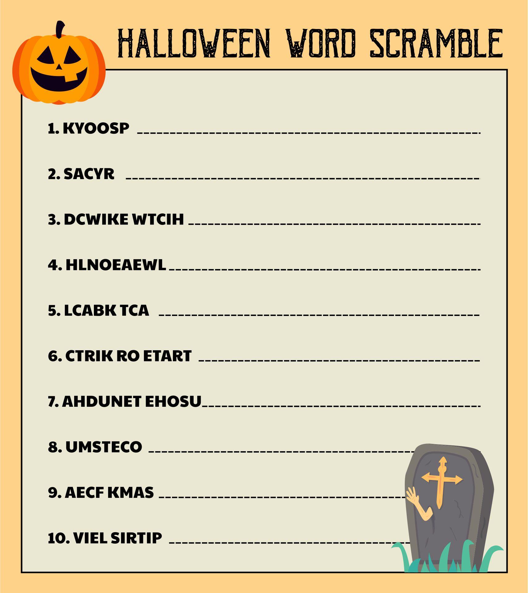 Printable Halloween Word Scramble