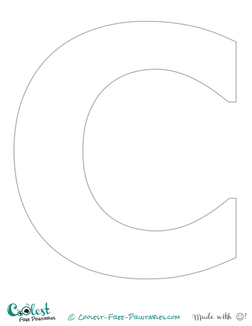 5 best images of free printable alphabet templates letter for Large letter c template
