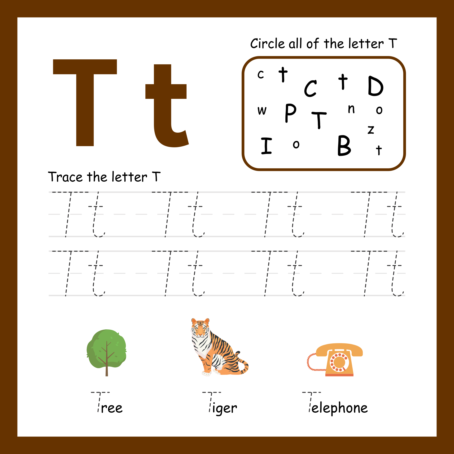Printable Letter T Worksheets